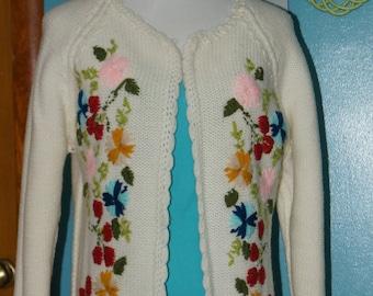 Vintage 1960's Hand Knit Embroidered Sweater