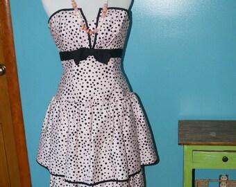 1980's AJ Bari Tiered Peplum Dress