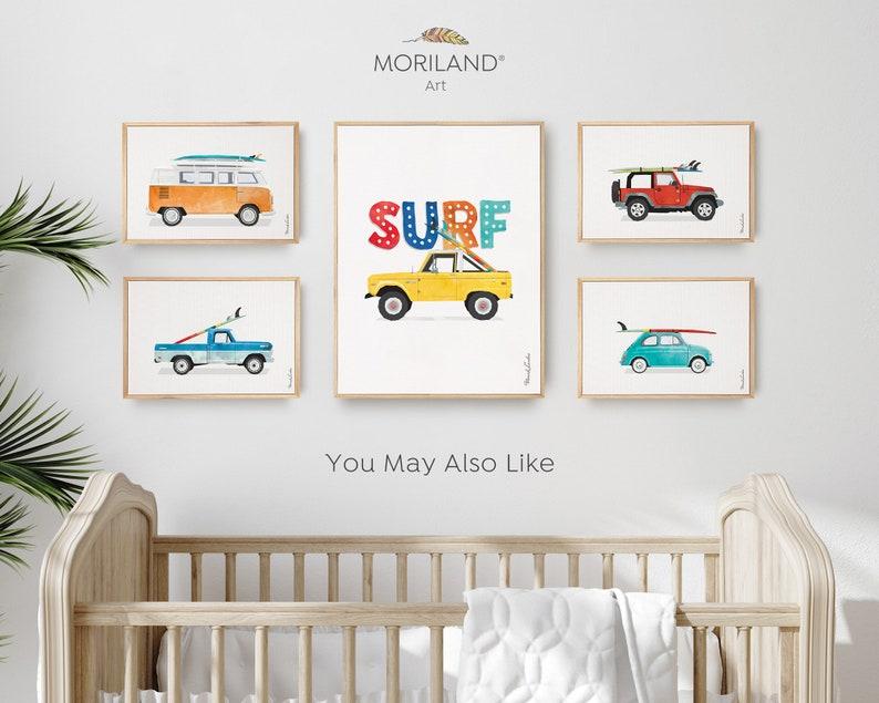 Surfboard Coastal Bedroom Art Vehicle Wall Art Bus Art Classic Car Art Vintage Surf Printable Baby Blue Van Print Transportation Art
