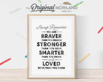 You Are Braver Than You Believe, Winnie the Pooh Quote Nursery, Nursery Printable, Kids Room Decor, Nursery Prints, Baby Shower Decor