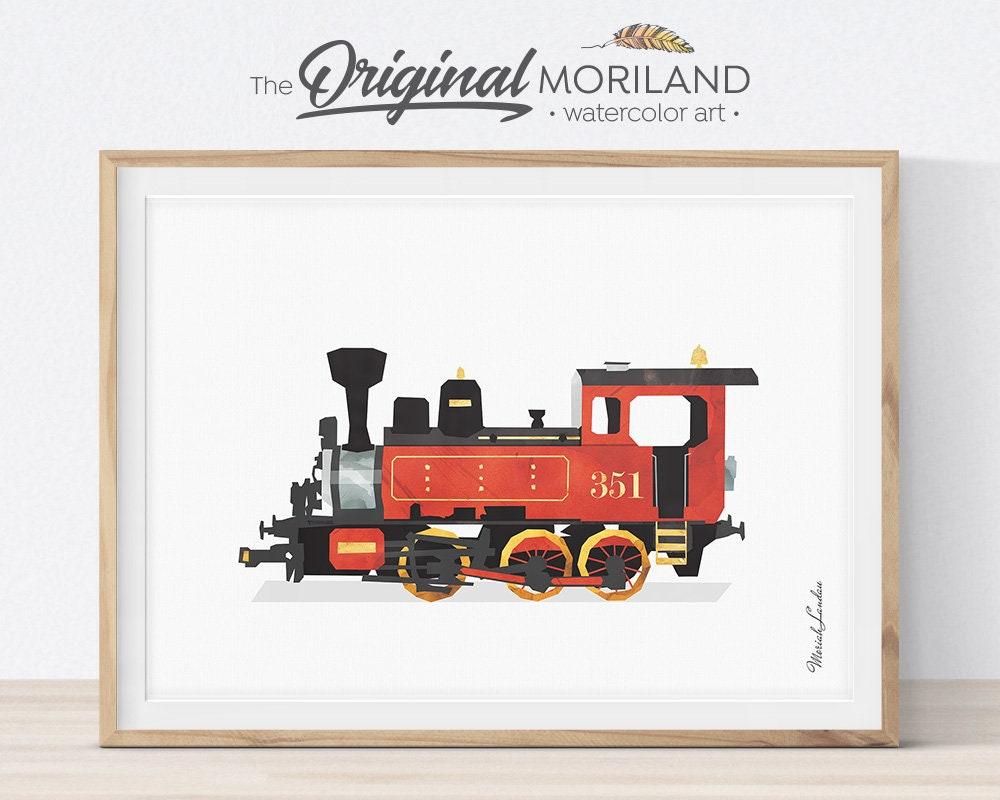 Steam Locomotive Print Train Printable Locomotive Art Train Etsy