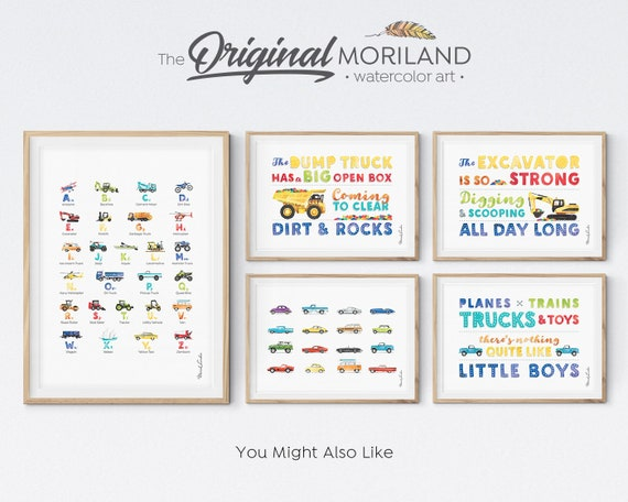 4 Sizes Personalised Birth Detail Print Framed Options Boys Boats /& Planes