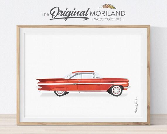 Car Wall Art, Transportation Wall Decor, Printable Car, Classic Car, Boy  Girl Room Decor, Red Watercolor, Vintage Car Art, Horizontal print
