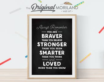 You Are Braver Than You Believe, Winnie the Pooh Quote Nursery, Nursery Printable, Little Girl Decor, Chalkboard Art Print, Instant Download