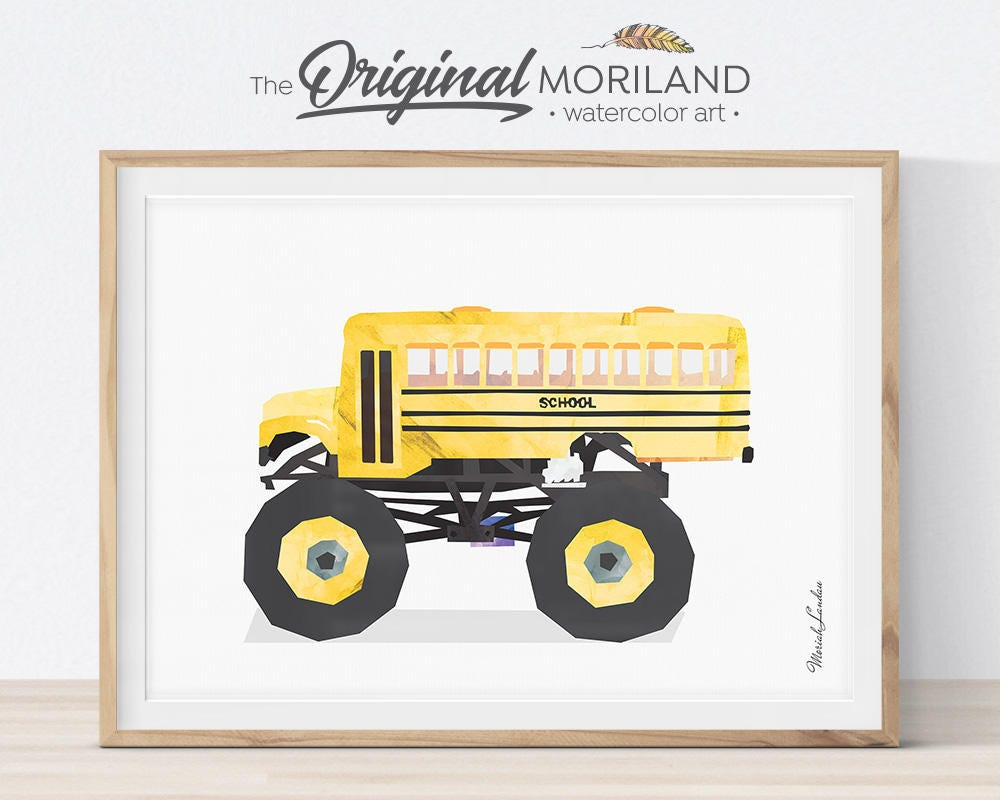 School Bus Monster Truck Print Transportation Art Monster   Etsy