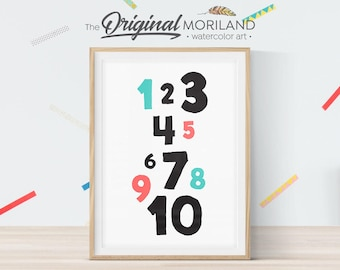 Numbers Print, Nursery Numbers Art, Nursery Art Print, Kids Printable, Children's Art, Kids Numbers, Nursery Numbers, Instant Download