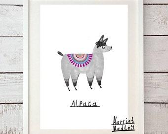 Alpaca Woolly Cute Print Illustration Home Decor Nursery Art
