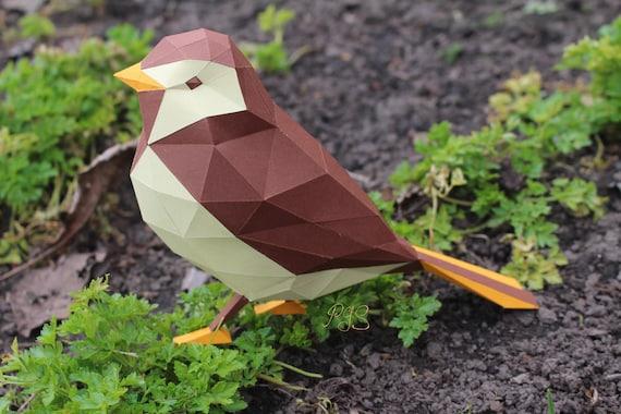 Bird Papercraft Printable Diy Pdf Template Etsy