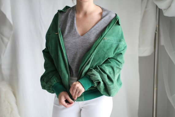 Green Suede Bomber