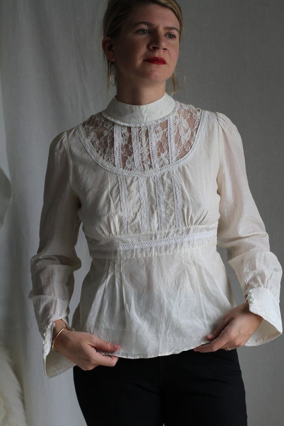 Lace/ Cotton Blouse - image 3