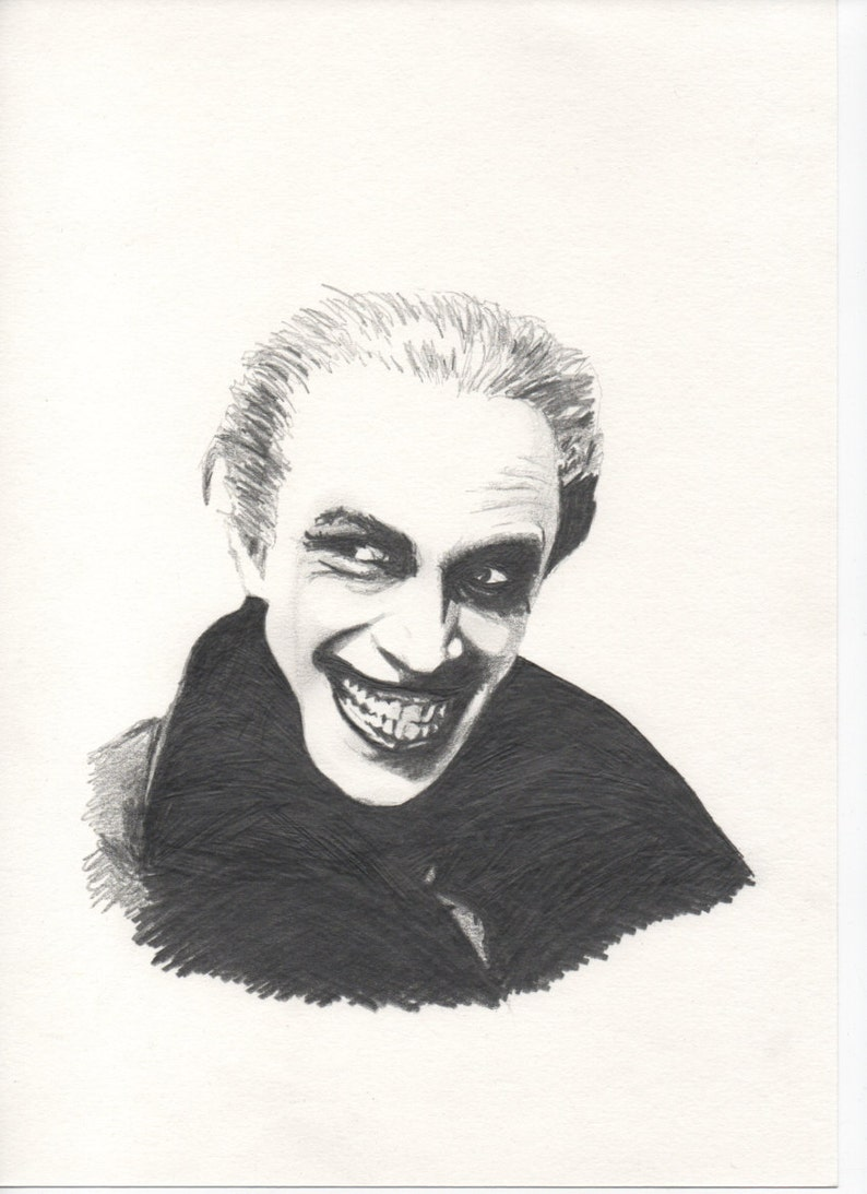 The man who laughs a4 pencil drawing etsy