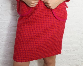 Vintage Red and Fuchsia Tweed Skirt