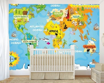 Kids world map wall mural education world map kids map art etsy kids world map wall mural children world map wallpaper kids world map map decal world map wall mural education world map map for kids gumiabroncs Gallery