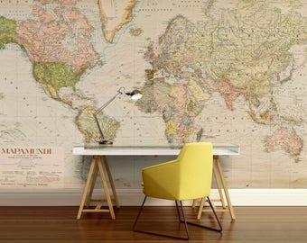 World Map Wall Decal Wallpaper Old Antique Vintage Mural Mapamandi