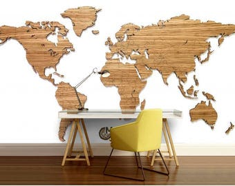 Wood World Map Cut Out.Wood World Map Etsy