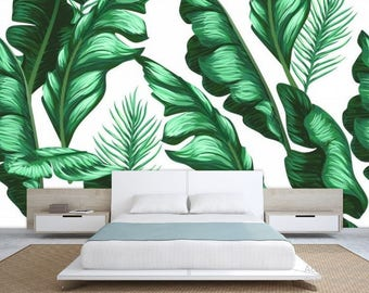 European Style Leaves Fake Metal Scroll Fresh Green Wall Stickers