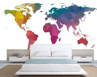 World Map Texture, Colorful World Map, Wallpaper World Map, Education Map  Decal, World Map Wall Mural,modern World Map, Office World Map