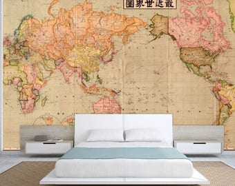 Self Adhesive Wall Murals EcoFriendly By KdesignWall On Etsy - Vintage world map decal