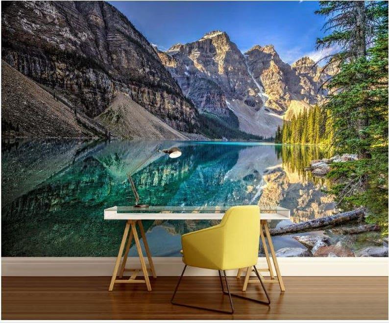 lake mural mountains wall mural self-adhesive vinly Lake WALL MURAL lake wallpaper mountain lake wallpaper mountain lake,