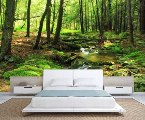 Forest Wallpaper River Forest Wall Mural Green Forest Wallpaper Forest Mural Green Forest Wall Decal River Forest Wallpaper River