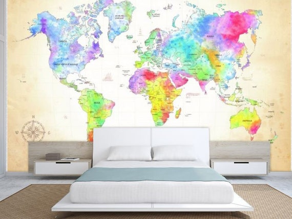 World Map Wall Mural Painting Wallpaper Colorful