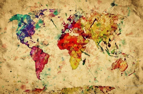 World Map Wall Mural Painting Map Wallpaper Colorful World Etsy
