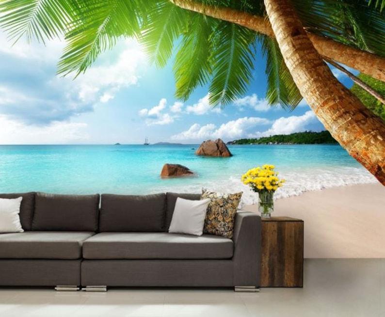 tropical wallpaper palms wallpaper coast sea sea wall mural tropical beach wallpaper sea emerald wallpaper paradise ocean wallpaper