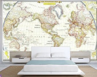 Giant world map mural classic home decor living room world map wall decal wallpaper world map old map wall decal antique world gumiabroncs Image collections