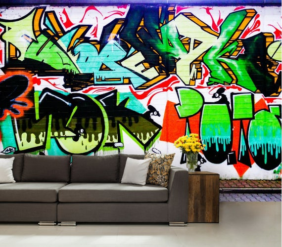 GRAFFITI 3d MURAL graffiti wall decal graffiti wallpaper  Etsy