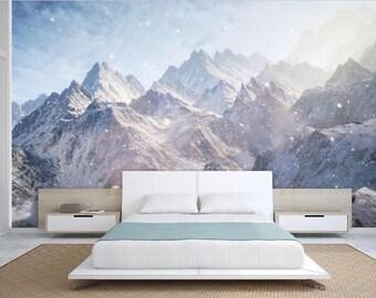 Mountain wallpaper, snow wall mural, Foggy mountain, self-adhesive vinly, mountains wall mural, mountain wall mural, mountain fog wallpaper