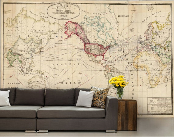 Old World Map Mural.Old World Map Wallpaper Old Map Wall Mural United States Map Etsy