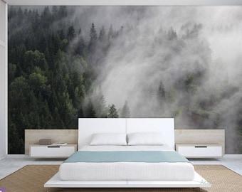 FOREST WALL MURAL, foggy mountain wallpaper, pine forest foggy, mountain foggy, mountains wall mural, foggy mountain wall mural, foggy decal