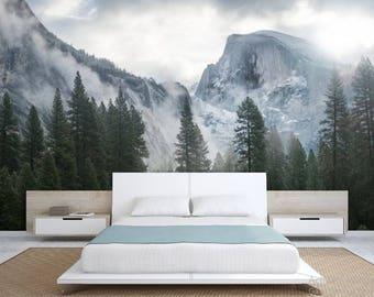 FOREST WALL MURAL, snow wall mural, nature forest, forest mural, peel and stick, mountains wall mural, foggy mountain wallpaper,