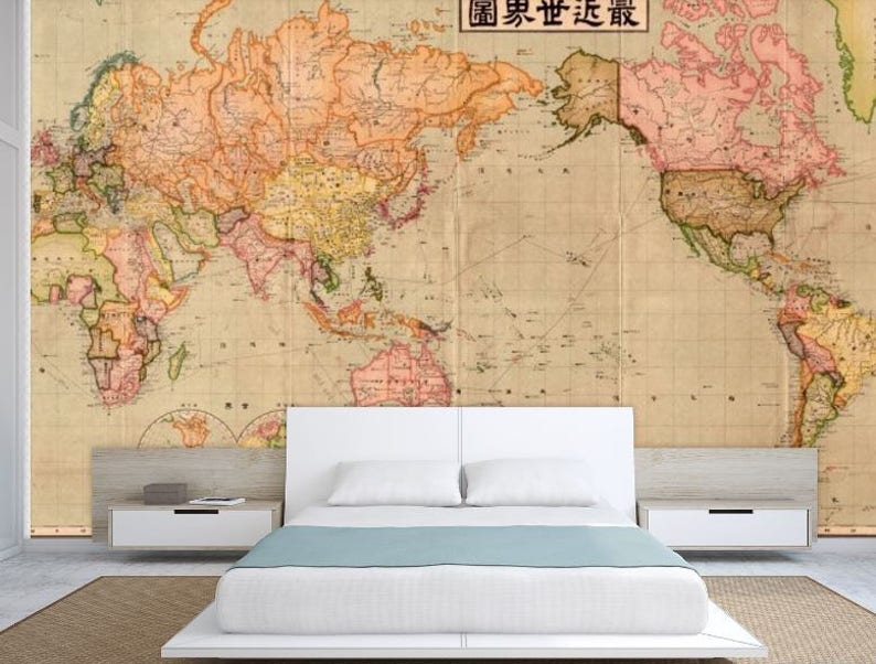 World map wall mural old map wallpaper vintage old map   Etsy