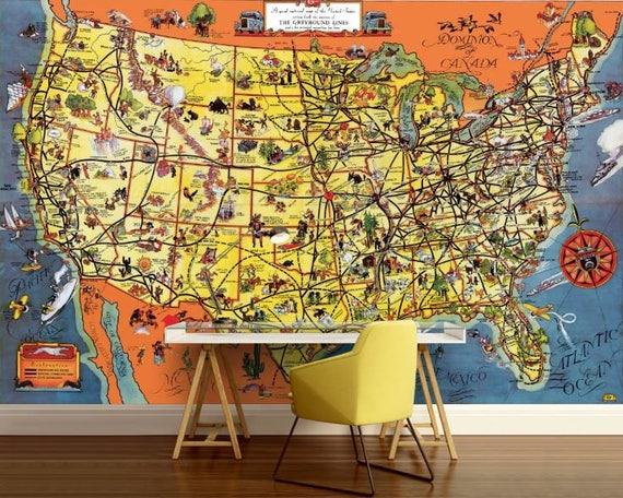 USA map wallpaper USA map wall decal USA map wall mural usa | Etsy