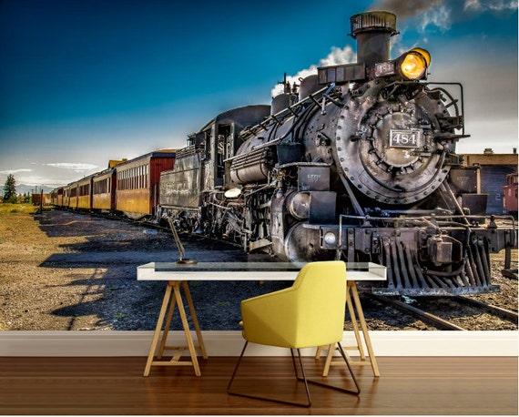 Train Wallpaper Train Wall Mural Train Wall Decal Locomotive Wallpaper Old Locomotive Wall Mural Peel And Stick Train Locomotive