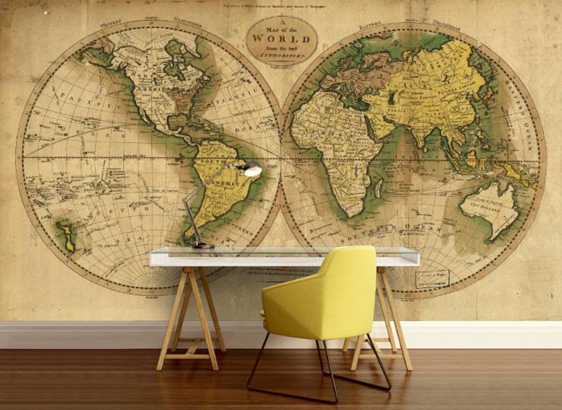 World map wallpaper old map wall mural vintage old map   Etsy
