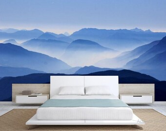Foggy mountain wallpaper, snow wall mural, foggy forest, forest mural, self-adhesive vinly, mountains wall mural, foggy mountain wall mural