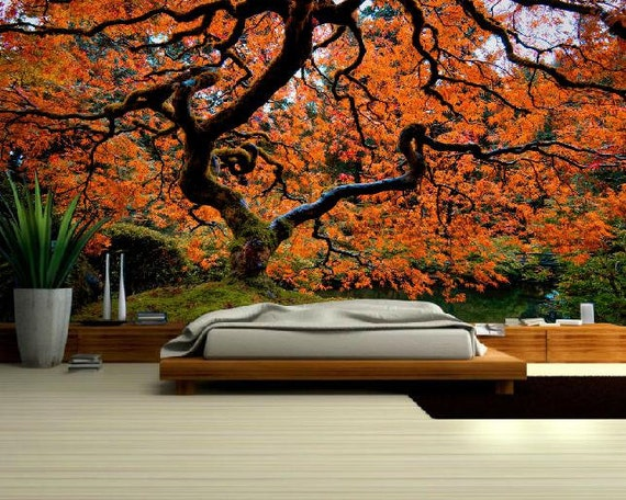 Autumn Forest Mural Japanese Tree Big Tree Wallpaper Forest Wall Decal Beautiful Tree Mural Tree Wall Decal Tree Wall Peel And Stick