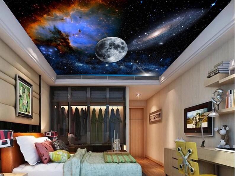 galaxy ceiling wallpaper ceiling stars nebula ceiling wall etsy