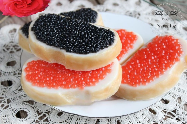 Sandwiches with Red or Black Caviar  1 Bar of Soap You Pick  Food  soap,Party Favor, Fun soap,Kids Soap Shea butter, Glycerin, Coconut oil