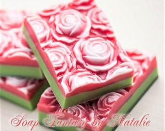 4 Rose Soaps-Flower Soap-Bed of Roses-Women Gift-Gift for Her-Mother's Gift