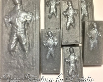 Star Wars Soap Set-7 Han Solo Soaps-Han Solo in carbonite Soap- Star Wars Soap Set