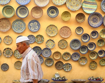 Vintage Decorative Plates Yellow Morocco Street Photography Moroccan Ceramic Wall Arab decor tiles : plates decorative - pezcame.com