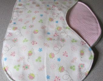 Sweet Baby Girl Flowered /Ladybug Burp Cloth