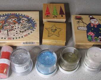 Snowman and winter stamps plus Embossing Powder Lot, NR