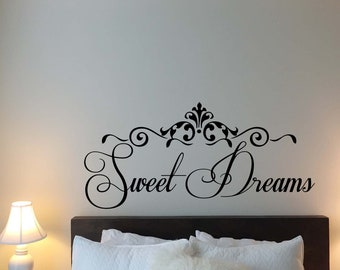 """Sweet Dreams Wall Decal 40x19"""" Bedroom Quote Sayings Family Gift Vinyl Sticker Kids Wall Art Home Bed Decor Nursery Poster Print 817"""
