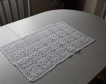 Crocheted Doily Tablecloth, Vintage Handmade Crochet Tablecloth,hand Crocheted  Lace, Lace Doily For Table,rectangular Lace For Coffee Table