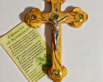 Unique Handmade Olive wood Cross Crucifix  With Soil,Rocks,Frankincense,Olive Leaves) from The Holy Land Jerusalem