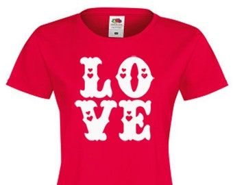 Red LOVE T-Shirt, Love hearts, Valentine - Womens, Ladies - Various Colour Text